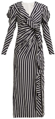 Jonathan Simkhai Ruffled Striped Sandwashed-crepe Midi Dress - Womens - Navy White