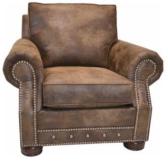 Beam & Oak Magnus Brown Southwestern Arm Chair with Nailhead Trim