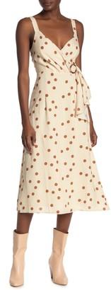 Dress Forum Polka Dot Faux Wrap Midi Dress