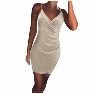 Moent Women Clothes Moent Women Sexy V-Neck Solid Sleeveless Plain Slim Dress