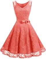 Dressystar Women Floral Lace Bridesmaid Party Dress Short Prom Dress V Neck XXXL