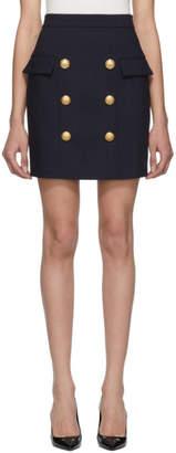 Balmain Navy Wool Double-Breasted Miniskirt