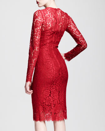 Dolce & Gabbana Long-Sleeve Lace Sheath Dress