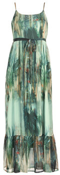 Cream JEANNE women's Long Dress in Green