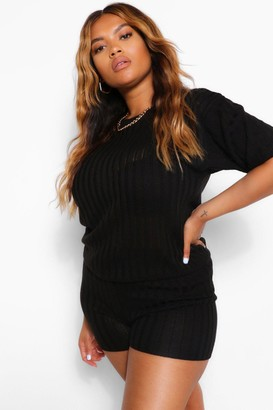 boohoo Plus Knitted Rib Top & Cycle Short Co-Ord