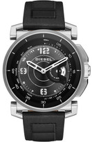 Diesel Sam Black And Silver Tone Leather Hybrid Smartwatch