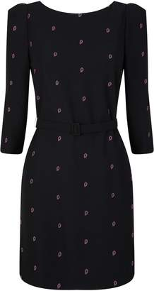 Claudie Pierlot Embroidered Belted Dress