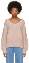Chloé Pink Oversized Pocket V-neck Sweater