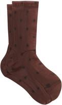 Darner Socks - Polka-dot Mesh Ankle Socks - Womens - Brown