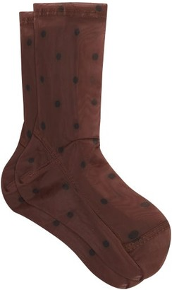 Darner Socks - Polka Dot Mesh Ankle Socks - Womens - Brown