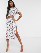 Fashion Union midi skirt with thigh split in floral print co-ord