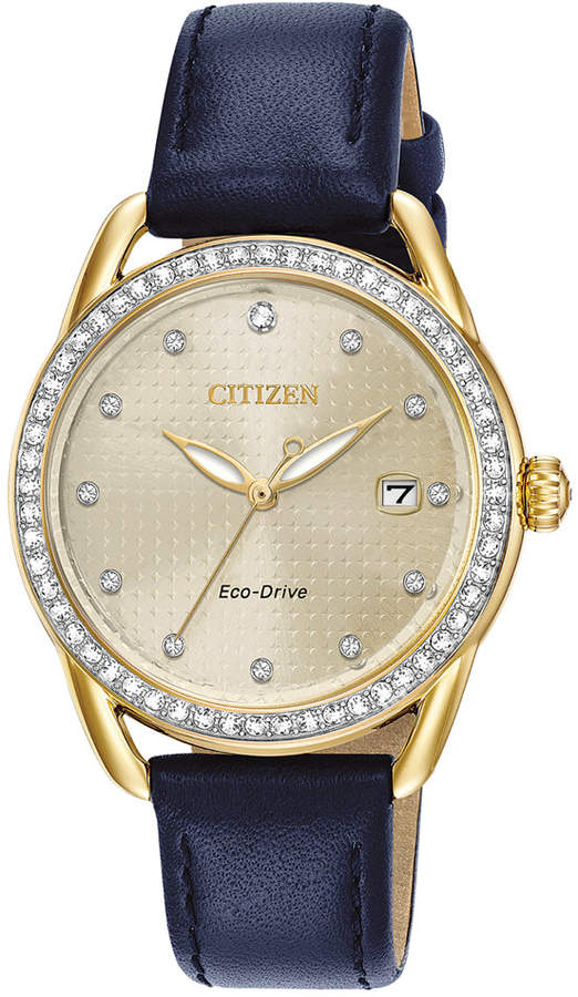 Citizen Drive from Eco-Drive Women Blue Leather Strap Watch 37mm