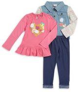 Nannette Girl's Three-Piece Buttoned Jacket, Crewneck Top & Stretch Leggings Set