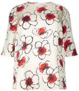 Marina Rinaldi Silk Floral Print Silk Blouse