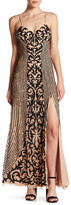 Marina Sequined Slit Gown