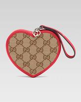 Gucci Girls' Micro Guccissima Heart Wristlet, Beige Ebony/Dark Watermelon