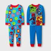 Marvel Toddler Boys' Avengers 4-Piece Cotton Pajama Set - Blue