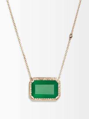 Shay Portrait Diamond, Onyx & 18kt Rose-gold Necklace - Green Gold