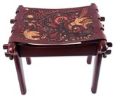 Novica Andean Paradise Tornillo Wood and Leather Stool