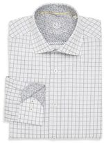Bugatchi Shaped-Fit Windowpane Cotton Dress Shirt