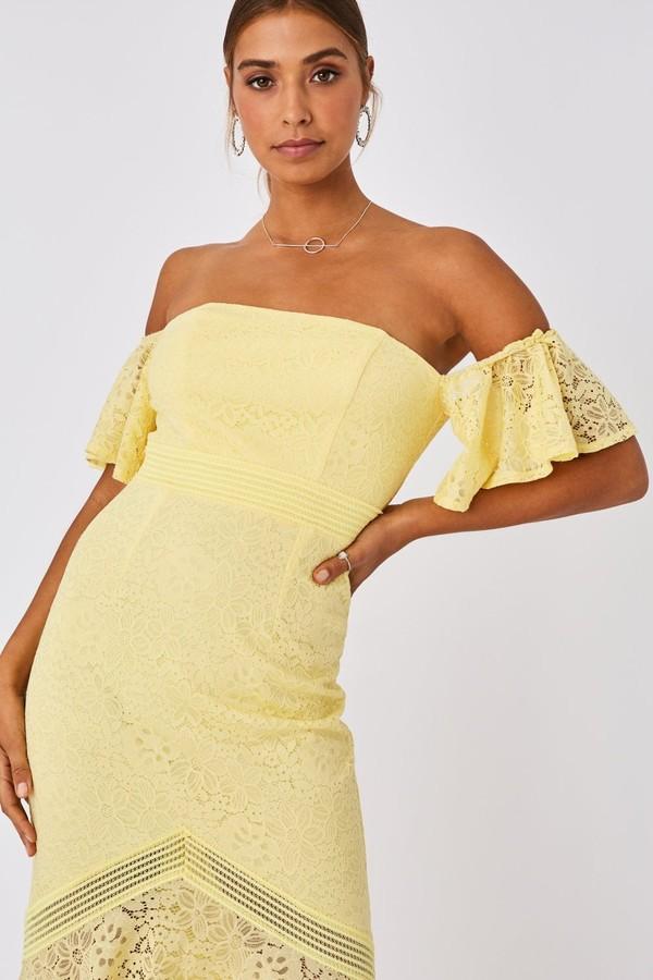 Thumbnail for your product : Little Mistress Tandi Lemon Zest Lace Bardot Maxi Dress