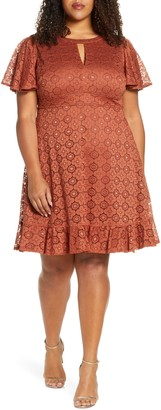 Kiyonna Middleton Ruffle Hem Lace Dress