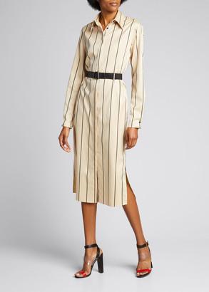 Akris Striped Belted Shirtdress
