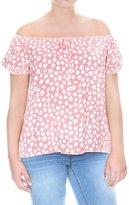 Grayson Shop Womens Cinched Off Shoulder Floral Plus Size Top