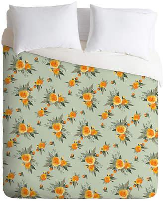Deny Designs Iveta Abolina Tangerine Burst King Duvet Set Bedding