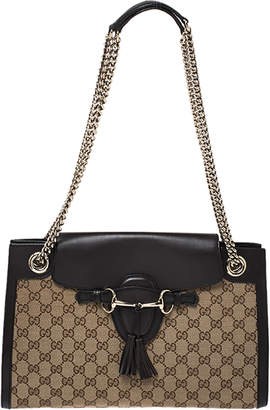 Gucci Beige/Brown GG Canvas and Leather Large Emily Chain Shoulder Bag