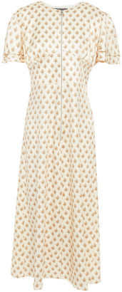 ALEXACHUNG Floral-print Satin Midi Dress