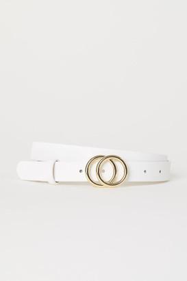 H&M Narrow Belt - White