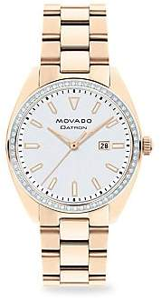 Movado Women's Heritage Series Datron Diamond & Rose Goldplated Stainless Steel Bracelet Watch