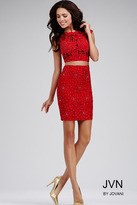 Jovani Flawless Cap-Sleeved Fitted Two Piece Cocktail Dress JVN28783