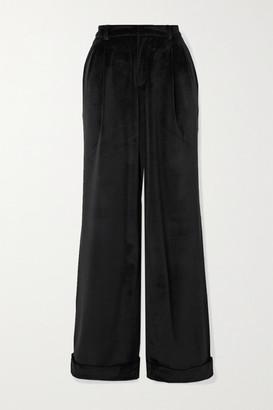 ÀCHEVAL PAMPA Gardel Pleated Velvet Straight-leg Pants - Black