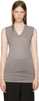 Rick Owens Grey Sleeveless V-Neck T-Shirt