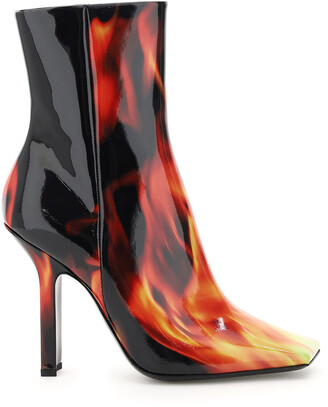 Vetements FLAMES PRINT BOOMERANG BOOTS 36 Black, Red, Yellow Leather
