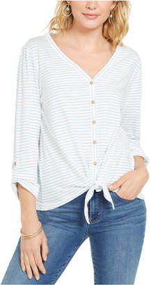 Style&Co. Style & Co Striped Tie-Front Top