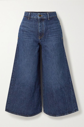 KHAITE Darcy Cropped Mid-rise Wide-leg Jeans - Dark denim