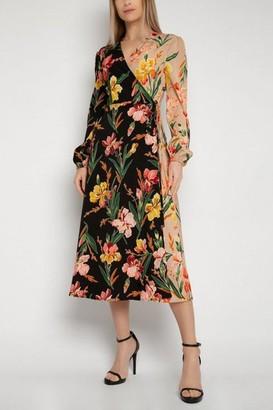 Gini London Gini London Multicoloured Floral Midi Wrap Dress