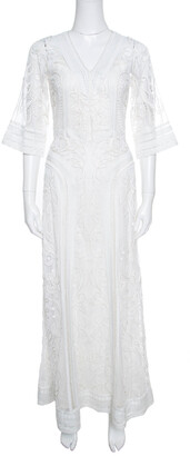 Temperley London Off White Tonal Embroidered Tulle Bertie Gown S