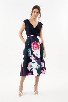 Coast Printed Wrap Full Skirt Midi Dress
