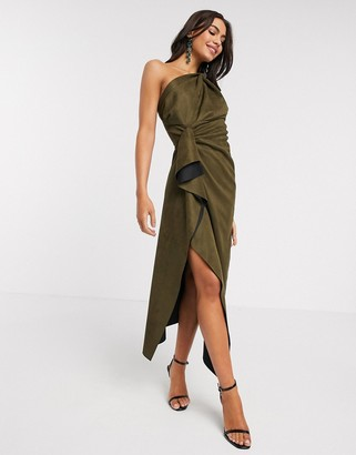 ASOS DESIGN suedette one shoulder knot detail drape midi dress in khaki