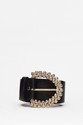 Nasty Gal Womens The Shine is Now Faux Leather Diamante Belt - Black - One Size