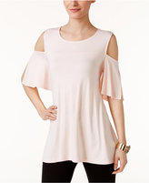 Alfani Cold-Shoulder Swing Top, Only at Macy's