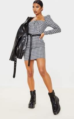PrettyLittleThing Black Check Square Neck Shift Dress