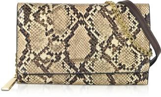 Roccobarocco Masala Snake Print Wallet Clutch w/Shoulder Strap