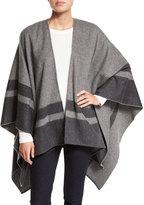 Neiman Marcus Stripe-Border Wool Ruana Shawl, Gray