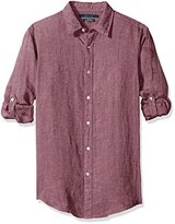 Perry Ellis Men's Solid Rolled-Sleeve Linen Shirt