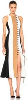 David Koma Loops & Metal Front Detail Paneled Tea Dress
